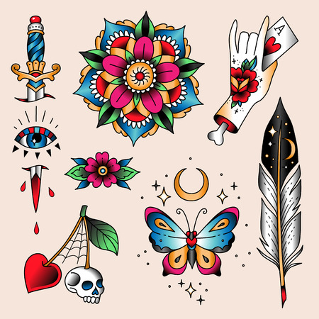 Illustration for Set of  color tattoos at traditional vintage style. Mystic symbols  - Royalty Free Image