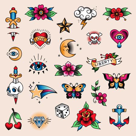 Ilustración de Set of color tattoos at traditional vintage style. Small symbols - Imagen libre de derechos