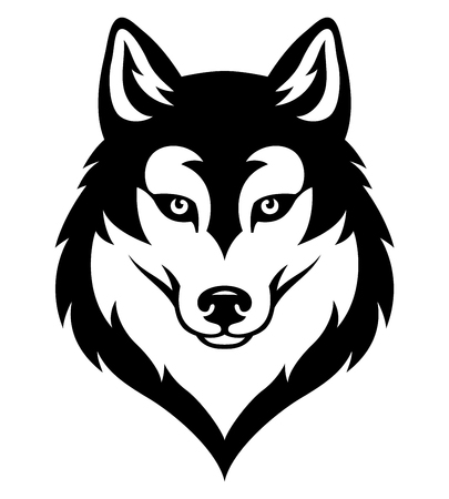 Illustration pour Stylized syberian husky's head. Emblem for sport team or tattoo. Black isolated on white - image libre de droit