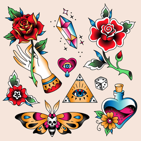 Illustration for Set of  color tattoos at traditional vintage style. Romantic symbols - Royalty Free Image