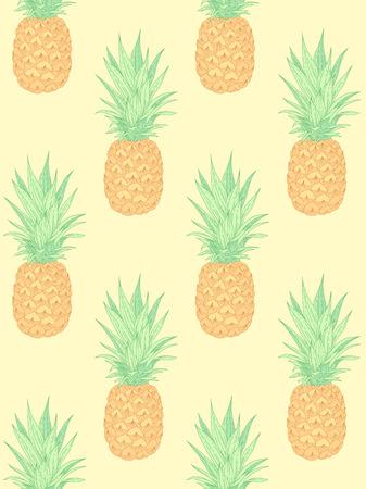 Ilustración de Fresh pineapples on yellow. Seamless pattern for textile, design and decoration - Imagen libre de derechos