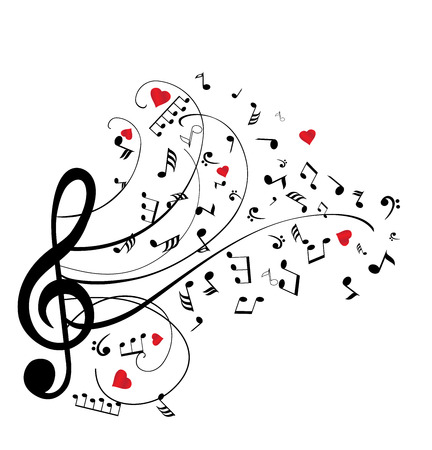 illustration of musical notes with hearts