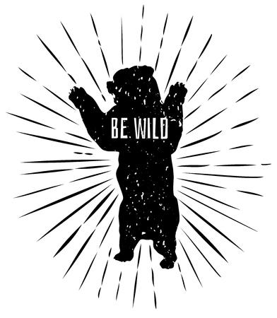 Illustration pour A grizzly bear standing. - image libre de droit