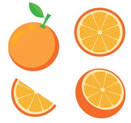 Illustration for vector illustration of an orange. Fruits, slices, oranges. Fresh fruit background isolated on white. - Royalty Free Image