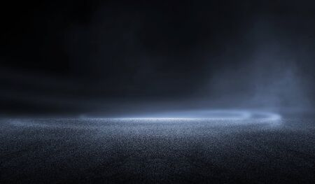 Photo pour 3D Rendering abstract dark night creative blurry outdoor asphalt background with mist light high speed - image libre de droit