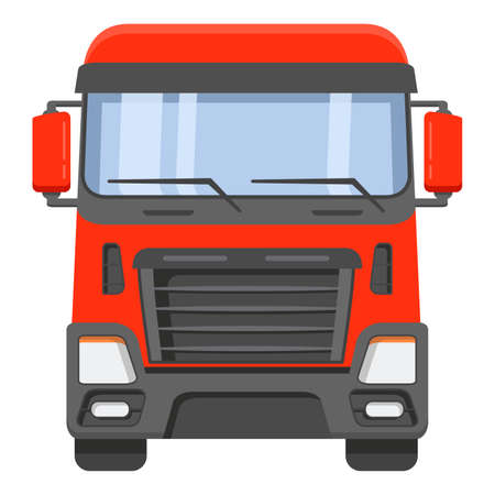 Illustration pour The front view on a cabin of the truck tractor.The truck of freight transportation company on cargo delivery. - image libre de droit