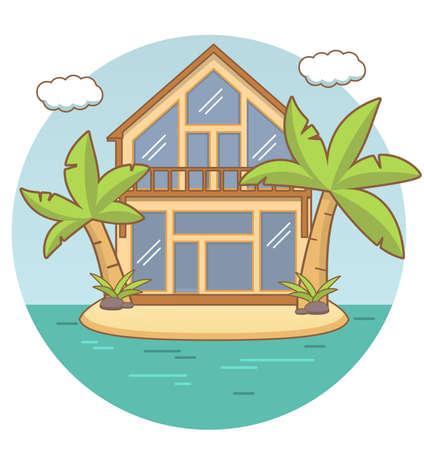 Illustration pour Beach lodge.Tropical island landscape sandy beach and the sea and palm trees,clouds. - image libre de droit