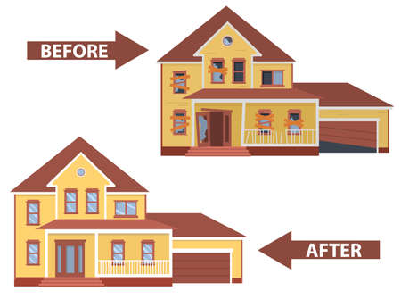 Illustration pour House before and after repair. Old run-down home. - image libre de droit