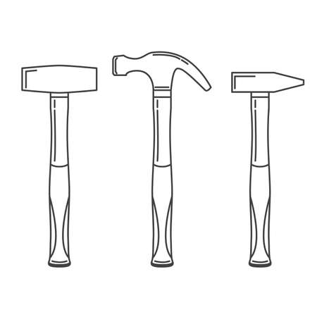 Illustration pour Working carpenter s tool. Set different hammers, mallets, nail-catcher. - image libre de droit