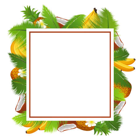 Illustration pour Tropical template of a frame for a banner with palm leaves and coconuts,pineapple and banana. - image libre de droit