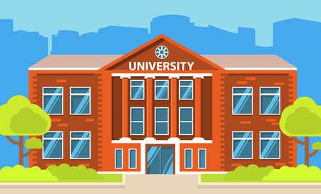Illustration pour University building. Education student.City landscape house facade. - image libre de droit