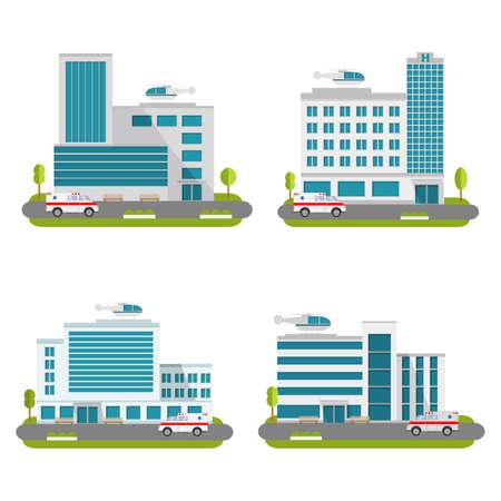 Foto de Set of the modern medical centers of rendering ambulance. Hospital with car and helicopter.Ambulatory care. - Imagen libre de derechos