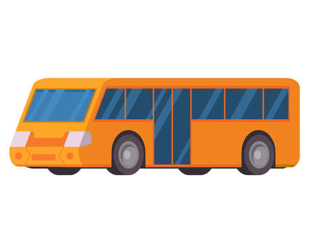 Illustration for Yellow city bus. Vector illustration flat style. Public transport. - Royalty Free Image