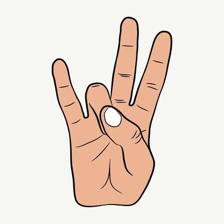 Illustration for Hip-Hop hand gesture. East Coast rap sign. Vector illustration. - Royalty Free Image