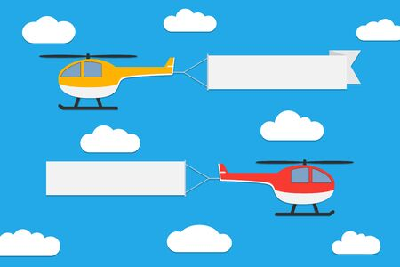 Illustration pour Flying helicopters with banners. Set of advertising ribbons on blue sky background. Vector illustration. - image libre de droit