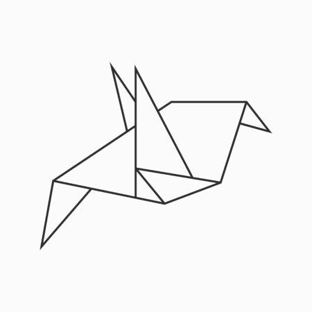 Illustration for Origami bird. Line geometric figure for art of folded paper. Vector illustration. - Royalty Free Image