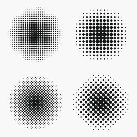Illustration pour Circle halftone effects set. Monochrome dots semitone element. Vector illustration. - image libre de droit