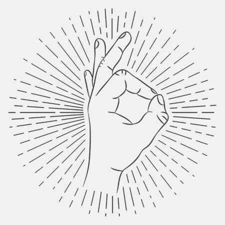 Illustration pour OK hand sign. Okay gesture. Hand-drawing illustration with hipster sunburst. Vector. - image libre de droit