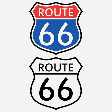 Illustration pour Route 66 sign set. The first road sign in America. Vector illustration. - image libre de droit