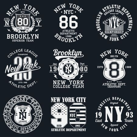 Illustration pour New York, Brooklyn typography. Set of athletic print for t-shirt design. Graphics for sport apparel. Collection of tee shirt badge. Vector illustration. - image libre de droit