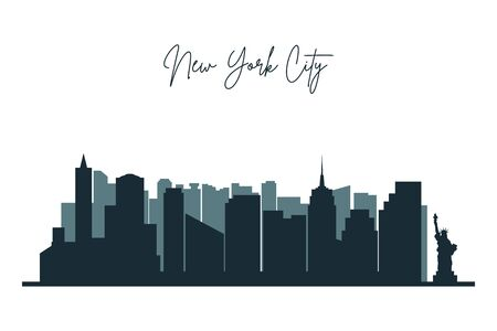 Illustration pour Silhouette of New York city. NYC urban skyline with  skyscrapers, buildings and liberty statue. Vector. - image libre de droit