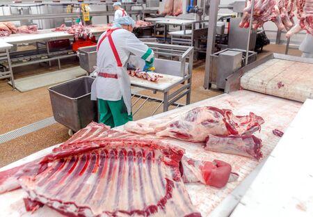Foto für cutting beef at a meat factory. - Lizenzfreies Bild