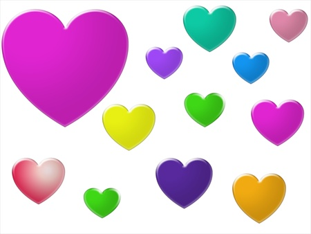 Bright coloured hearts in different sizes isolated on white background