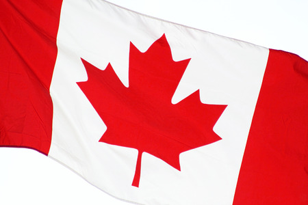 Close up of the CANADA flag  flying free on Canada Day