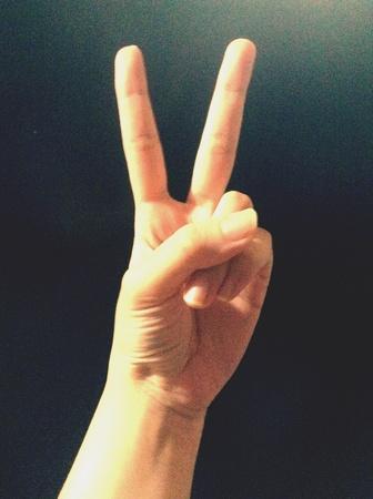 V sign hand