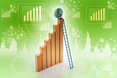 business bar graph with wood ladder isolated over white background