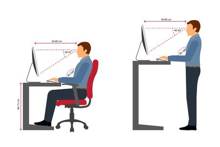 Illustration pour Correct sitting and standing posture when using a computer - image libre de droit