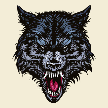 Illustration for Angry Wolf Head - Royalty Free Image