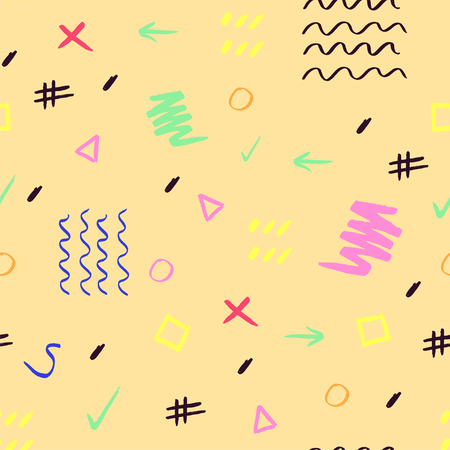 Photo pour Handdrawn colorful brush stroke seamless pattern. Memphis style pattern. Abstract background. - image libre de droit