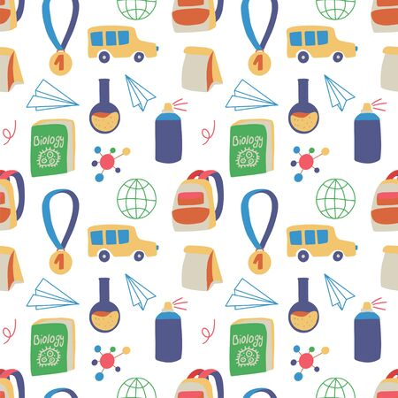 Illustration pour Seamless hand drawn pattern with colorful back to school on white background. Vector education illustration. - image libre de droit