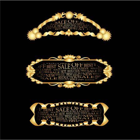 Vector set of golden bussines frames
