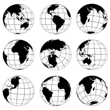 Ilustración de Vector globes various turn - Imagen libre de derechos