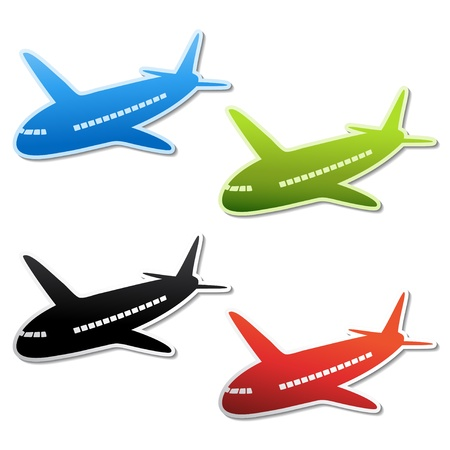 Illustration for Vector airplane stickers - Royalty Free Image