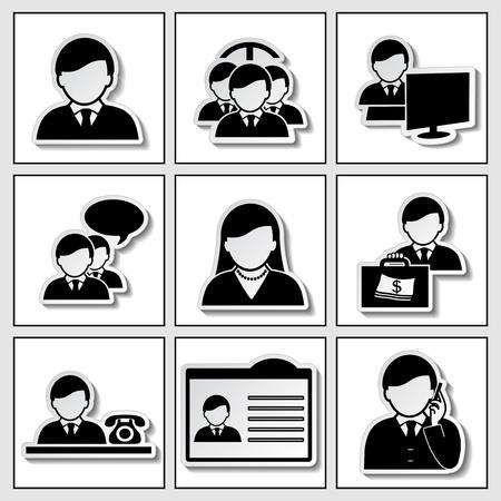 human icons - businessman, community - illustration