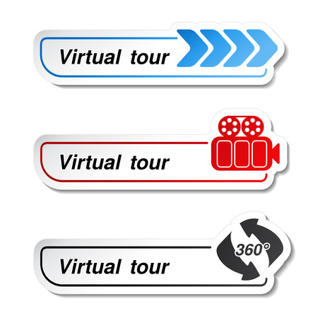 labels - stickers for virtual tour - illustration