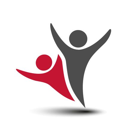 Illustration for Vector together joined people icon. Red and grey community symbol. Human sign of two partners. Silhouttes of body with transparency shadow. Symbol of succes. - illustration - Royalty Free Image