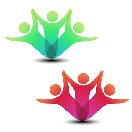Illustration for Vector together joined people icon. Red and green community symbol. Human sign of two partners. Silhouttes of body with transparency shadow. Symbol of succes. - illustration - Royalty Free Image
