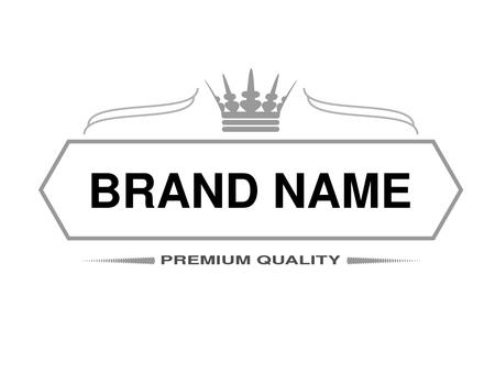 Illustration pour Vector line label. Rectangle frame for Brand name with symbol of crown. Monochrome design. - illustration - image libre de droit