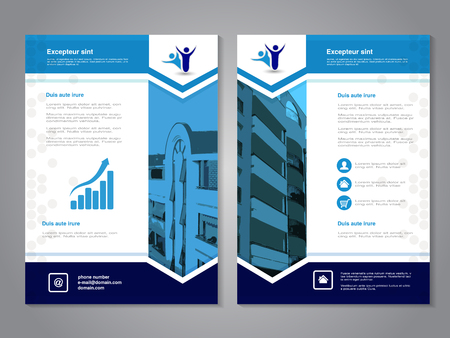 Vector modern brochure, abstract flyer with background of buildings. Layout template. Aspect Ratio for A4 size. Poster of blue, dark blue, grey, black and white color. Magazine cover. - illustration