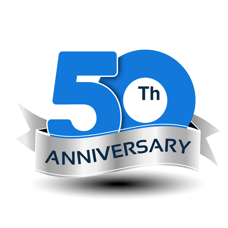 Photo pour Vector 50 years anniversary, blue number with silver ribbon - illustration - image libre de droit