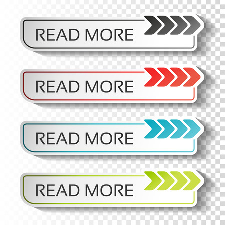 Illustration pour Vector read more buttons with arrow pointer. Black, blue, red and green labels. Stickers with shadow on transparent background for business, information page, menu, options, navigation. - illustration - image libre de droit