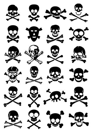 Skulls   Crossbones Vector Collection in White Background