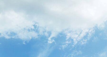 fluffy clouds in blue sky