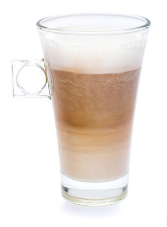 Photo pour glass of fresh atte coffee isolated on white background with clipping path - image libre de droit