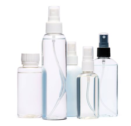 Photo pour group of hand sanitizer spray bottles isolated on white background. - image libre de droit