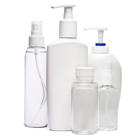 Photo pour group of hand sanitizer spray and liquid soap bottles isolated on white background. - image libre de droit